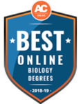Best online biology degree award logo.