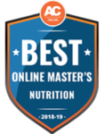 Best online online master's nutrition degree award logo.