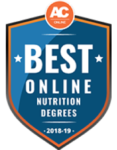 Best online online nutrition degree award logo.
